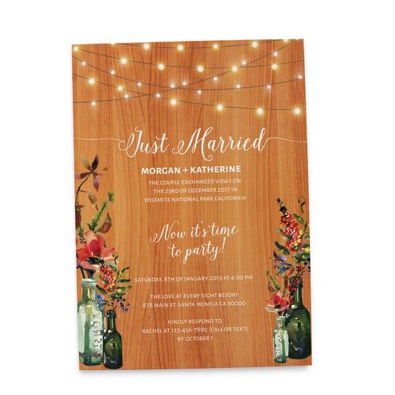 Rustic Reception Party Invitation CardsJust