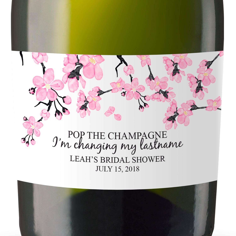 Mini Champagne Bottle Label Stickers, Cherry blossom, Custom Bridal ...