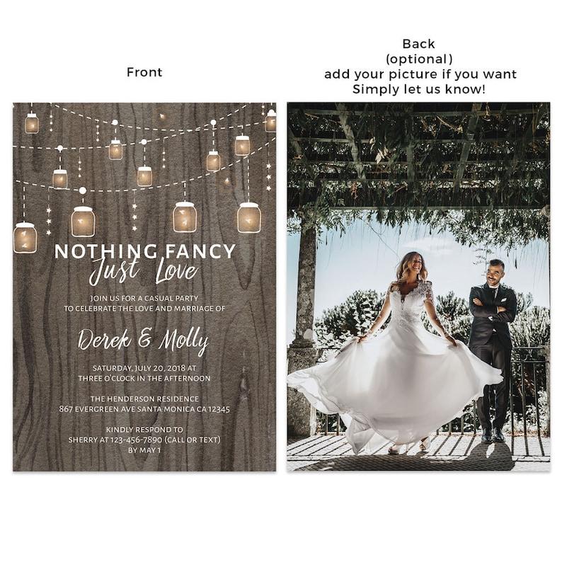 Rustic Wedding Reception Invitations Casual Elopement Party image 0