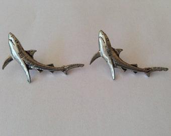 Small Salmon F10 Antiqued Fine English Pewter Cufflinks Handmade In Sheffield