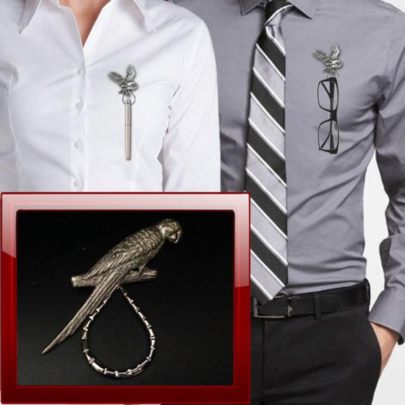 Pen parrot ppbo8 pewter Brooch drop hoop Holder For Glasses ID jewellery