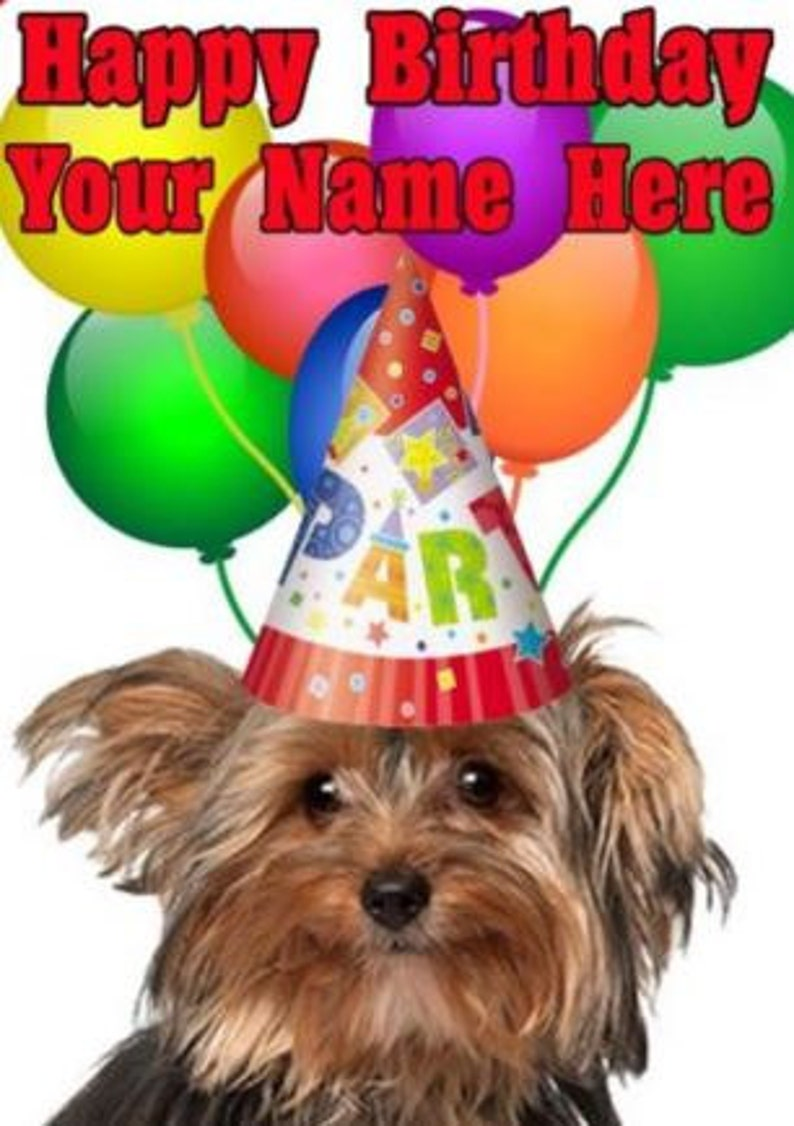 Yorkshire Terrier Cane Buon Compleanno Pid734 A5 Etsy