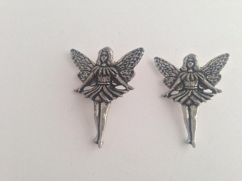 C14 Standing Fairy  Antiqued Fine English Pewter Cufflinks Handmade In Sheffield