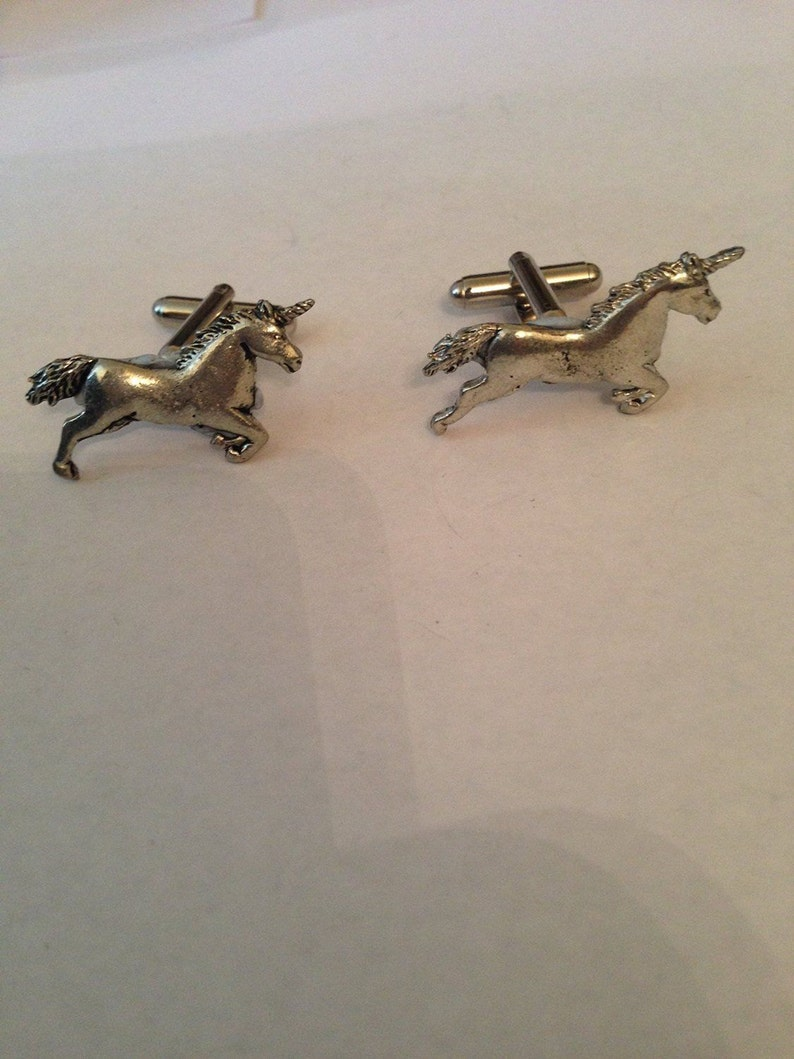 Unicorn PP-G04   Antiqued Fine English Pewter Cufflinks Handmade In Sheffield