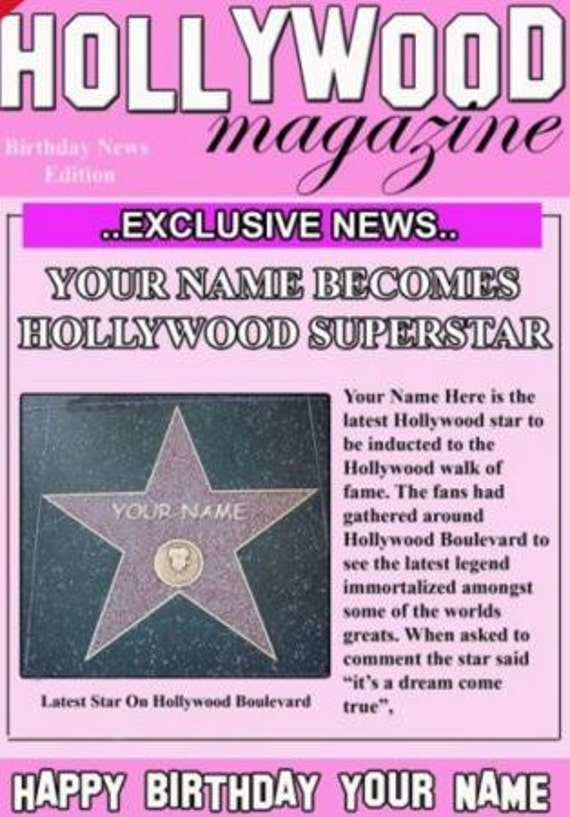 A5 Personalised Greeting Celebrity Birthday Card Magazine Etsy