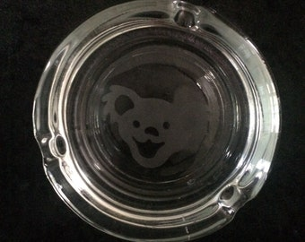 Etched Smiling GD Bear on Round Glass Ashtray
