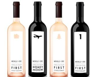 Custom Milestone Wine Labels, Bridal Shower Gift, Wedding Gift, Wedding Milestone, Wedding Wine Labels, Wine Basket, Custom Wine Labels
