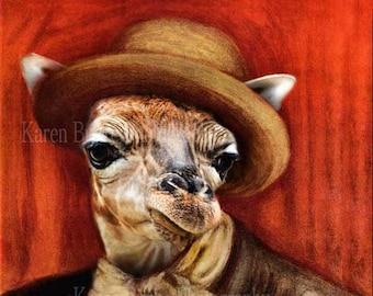 Renoir Selfie Portrait - Baby Giraffe - Animal Morph - Funny Animal Art - Whimsical Animal art - Funny Giraffe - Funny Baby Giraffe Portrait