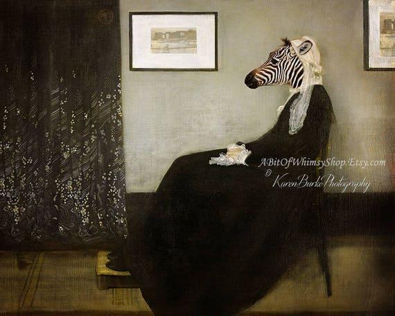 Funny Zebra, Photography Print, Whistlers Mother, Fun Fine Art, Animal  Morph, Animal Lover Art, Whimsical Animals, Tribute Art, Funny Wall