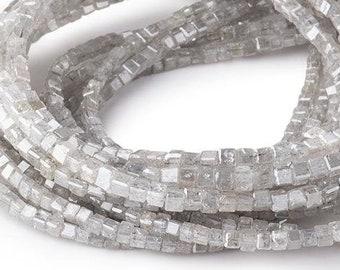 1-2mm Silver Diamond Beads, Cube Beads, Raw Diamond, Rough Diamond, Geometric Bead, Genuine Diamond, Diamond Cube Beads, April Birthstone