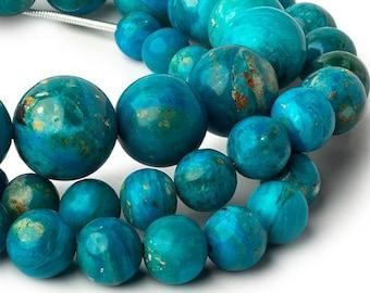 AAA Grade Blue Peruvian Opal Round Beads, Opalina Round Beads, Blue Beads