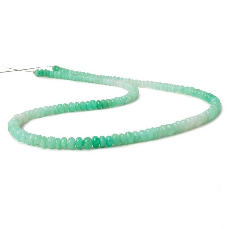 AA Grade Tanzanian Opal Plain Rondelle 4-5.5mm Green Beads