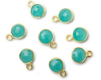 6mm Bezel Set Chalcedony Faceted Coin Pendant, Seafoam Blue Chalcedony Pendant, Vermeil Bezel Set Chalcedony Beads