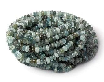 A Grade Aquamarine Smooth Rondelle Beads, Genuine Aquamarine, Moss Aquamarine Beads, Blue Aquamarine Beads, Green Aquamarine Beads, Shaded