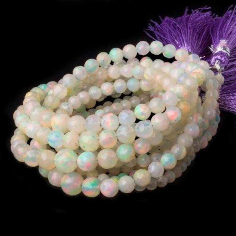 Natural Ethiopian Opal Faceted Round Beads 8 Inches Strand 3-5 MM Fire Opal Beads October Birthstone Necklace Wholesale Welo Opal