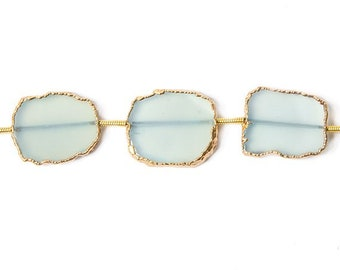 Blue Chalcedony Gold Leafed Slice Beads, 24kt Gold Leaf Slice Beads, Robin Egg Blue Chalcedony, Pale Blue Chalcedony, Gold Foil Slice
