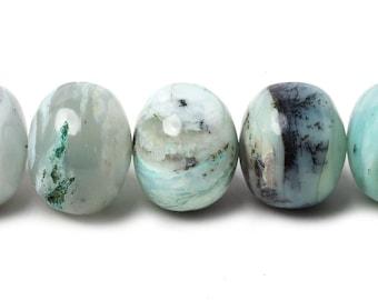 Blue Peruvian Opal Unfaceted Rondelle Beads A Grade, Blue Beads