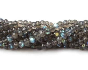 AAA Grade Labradorite Microfaceted 4.5mm Rondelle Beads, Grey Beads, Gray Beads, Microfaceted Labradorite Beads, Micro Faceted Labradorite