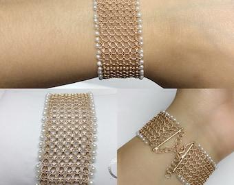Handmade Mesh 18K Rose Gold Bracelet w/ Freshwater Pearl
