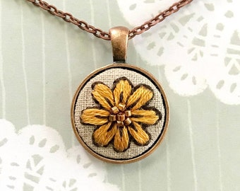 Yellow Daisy Embroidered Necklace / Embroidered Jewelry / Repurposed / Small Gift / Flower / Nature Floral Pendant / Retro / Boho / Folk