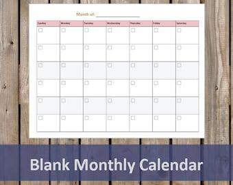 Blank Monthly Calendar - Student Planner - Printable/Editable PDF - Student Organizer - INSTANT DOWNLOAD