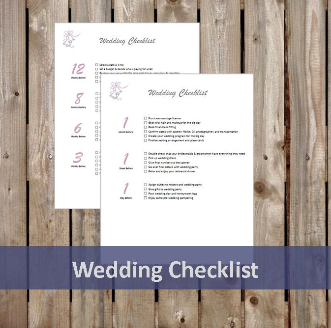 Wedding Countdown Checklist: Wedding Checklist Wedding Guide Wedding Countdown Planner