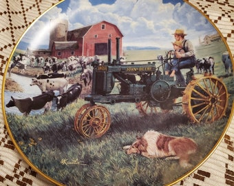art deco plates tractor edition knives Official John Deere Collector Wood Sign