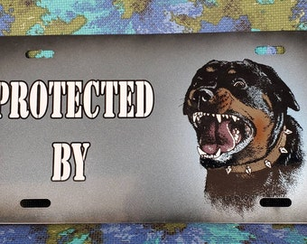 Custom Airbrushed Personalized Collie Dog Auto Tag vanity license plate blank OR with your name or 2 words