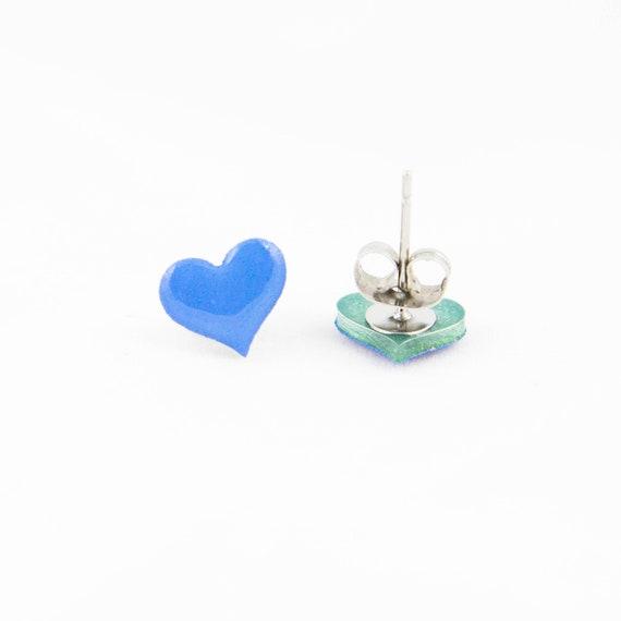 tiny hearts tiny heart earrings purple heart earrings valentine/'s day earrings purple hearts little hearts valentine/'s day hearts