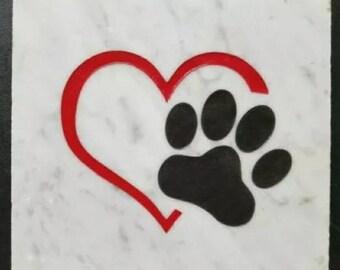 Home & Garden Stone Animal Love, Paw in Heart, Granite