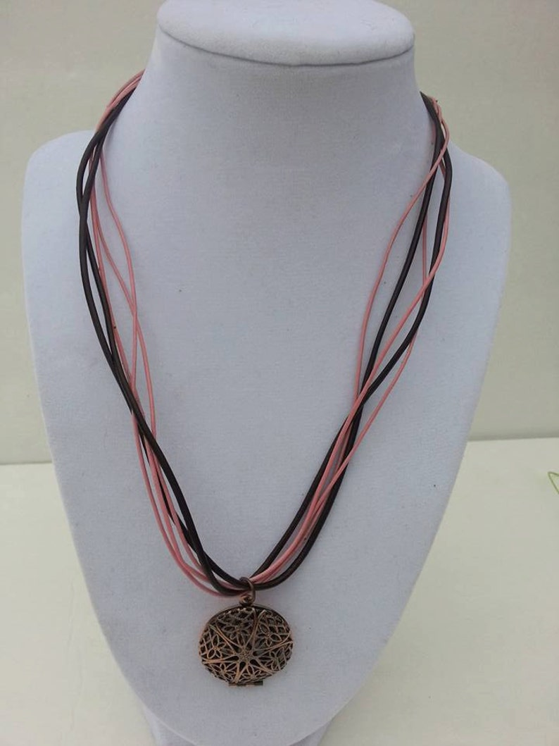 Copper Diffuser For Her Aromatherapy Necklace Custom Designed Jewelry Pink And Brown Leather Necklace Diffuser Locket Copper Locket