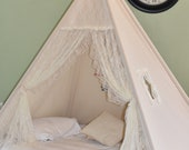Bed Teepee Flora Ivory Lace Canvas Bed Teepee Kids Teepee, Kids Play Tent, Childrens Play House, Tipi,Kids Room Decor