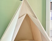 Natural Canvas Plain Teepee, Kids Teepee with poles, Play Tent, Play House, Tipi,Room Decor