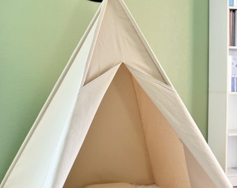 On Sale: Natural Canvas Plain Teepee, Kids Teepee with poles, Play Tent, Play House, Tipi,Room Decor