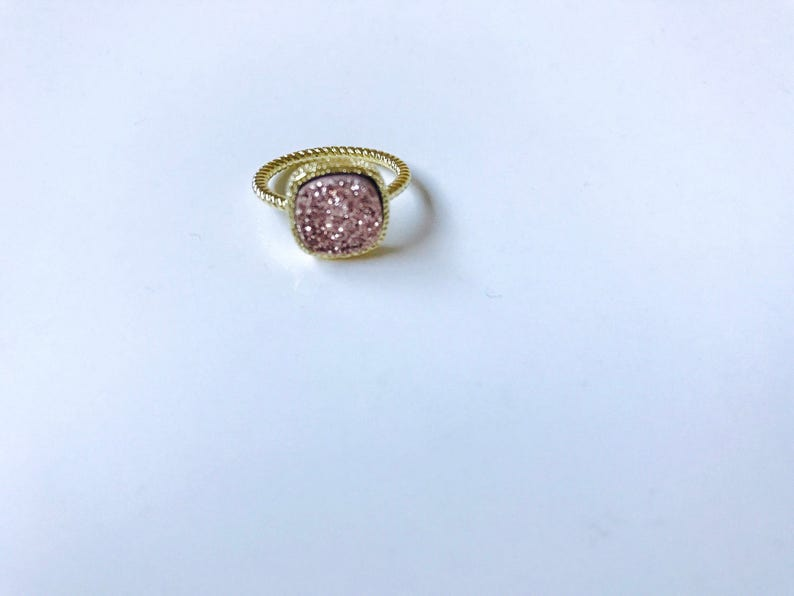 Rose Druzy Solitaire Ring 24K Gold Titanium with Twisted Band