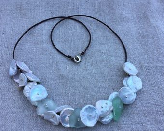 Keshi Pearl and Sea Glass Lei necklace