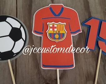 Soccer Theme Birthday centerpiece-Soccer Centerpiece-Barcelona soccer centerpiece-Soccer birthday centerpiece-soccer ball centerpiece-sport