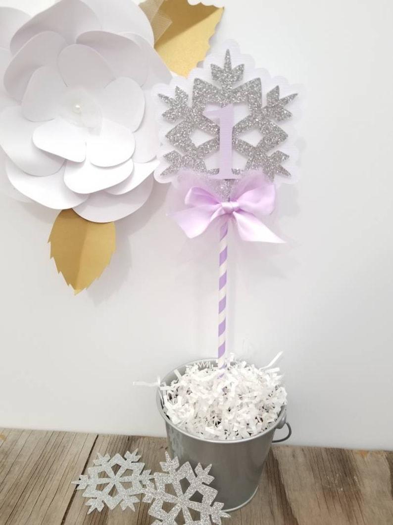1st birthday snowflake cake topper-1st snowflake cake topper-Winter snowflake cake topper-Lavender Pink Mint Snowflake cake topper-one