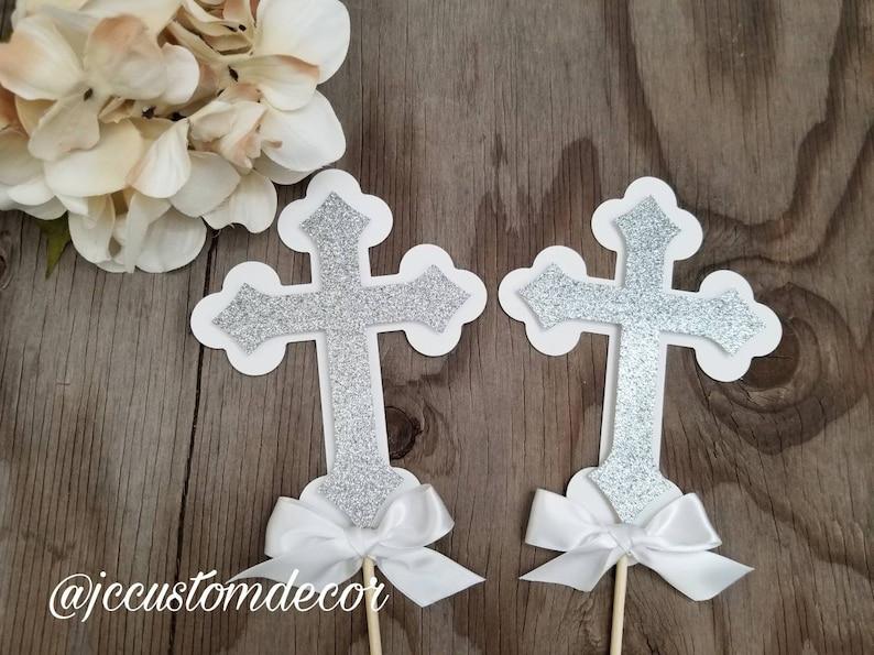 White Cross Centerpiece-Glitter Cross Picks-Cross Centerpiece Picks-Baptism Centerpiece-Cross centerpiece-Christening Centerpiece-cross