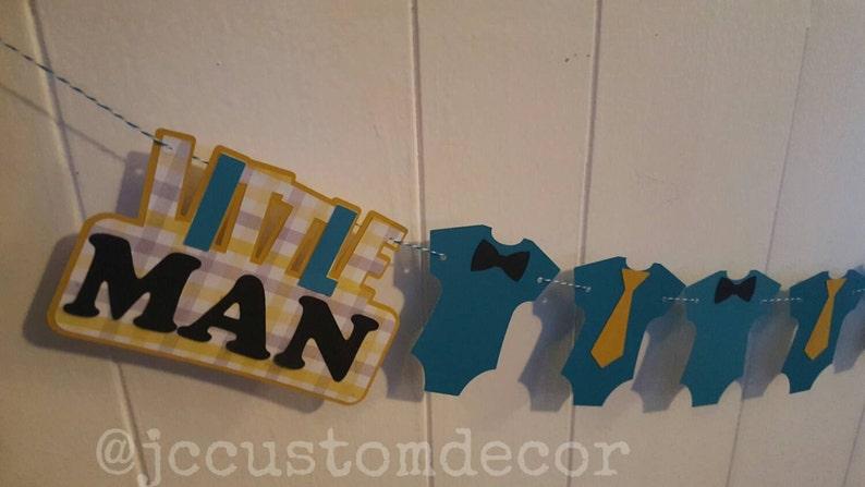 Little Man Onesie Banne Little man banner-boy baby shower banner-Little Man Shower onesie bow and tie banner-little man birthday