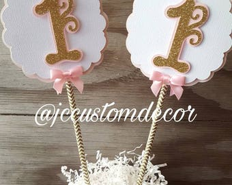 One First Birthday girl centerpiece-one girl birthday centerpiece-one pink gold silver centerpiece-pink gold birthday-one centerpiece girl