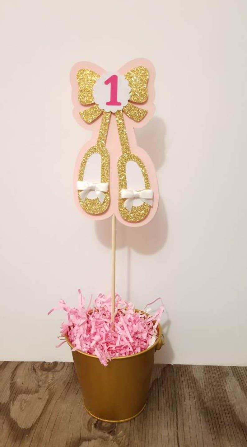Ballerina Birthday-Ballerina Baby shower centerpiece-Ballerina theme pink gold centerpiece-Ballet slippers centerpiece-Ballerina baby shower