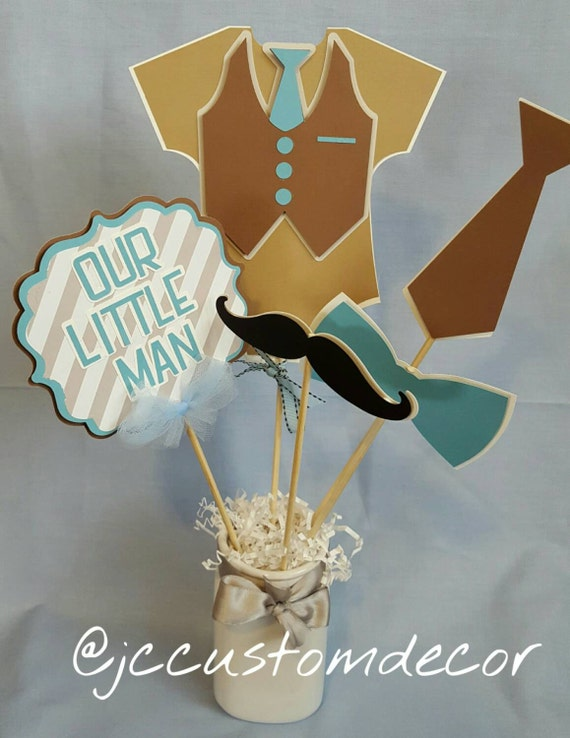 Little Man Centerpiece Little Man Baby Shower Etsy