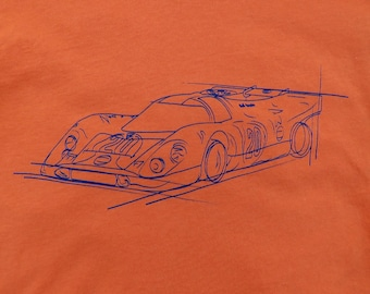 3b0f74bfd56 Porsche 917  20 Gulf Racing Steve McQueen 24 Hours of Le Mans Hero Car line  art T-shirt