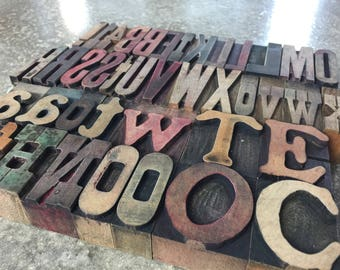 Wood Letterpress, Wood Printer Block Letter, Wood Type Set, Assorted Font Wood Letterpress