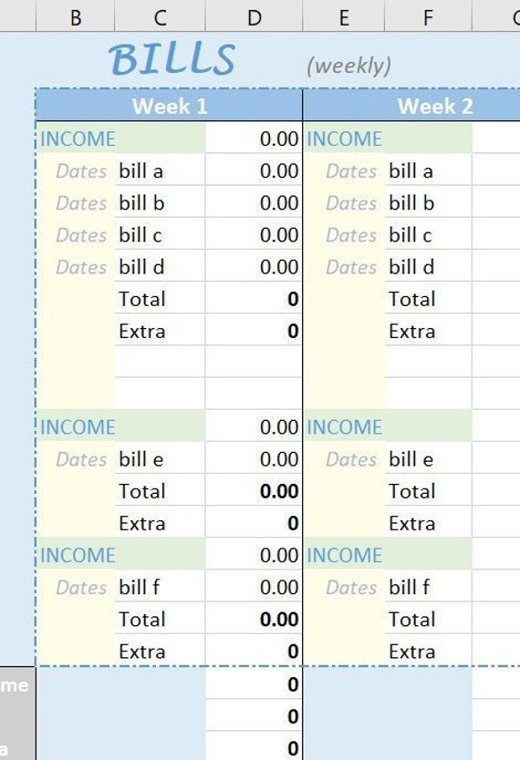 Bill Tracker And Income Organizer Spreadsheet