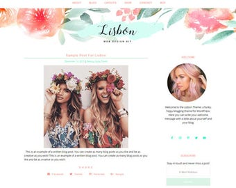 Responsive WordPress Theme | Lisbon Hippie Feminine Blog Design | WordPress Template | Genesis Child Theme