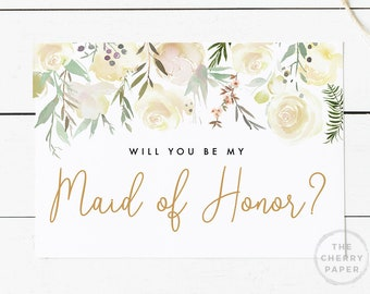 Printable cards etsy will you be my maid of honor printable card greenery instant download greeting card floralwhite flowerbridalbridesmaid proposal card m4hsunfo