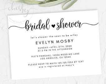 modern bridal shower invitationinvite black and white bridal invite rustic editable template instant download printable evelyn
