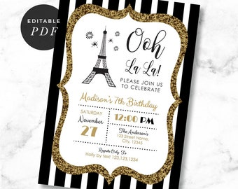 Eiffel tower invites etsy paris birthday invitation chic stripes black white eiffel tower parisienne birthday invites template instant download par01 filmwisefo